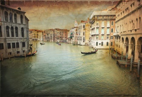 Printed vintage painting of Venezia