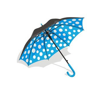 Blue polka dot umbrella