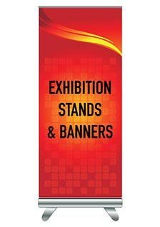 Exhibition stand and red printed banner
