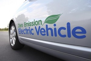 Printed car sticker on electric vehicle
