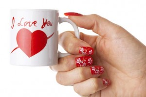 White cup with I love you printed on
