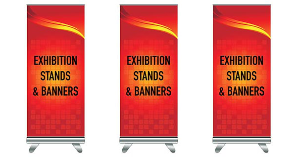 Exhibition Stand with red printed banner