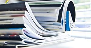 Stack of printed brochures