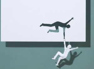 Paper art of man falling