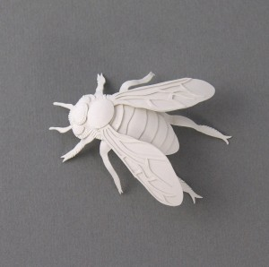 miniature bee paper sculpture by elsa mora
