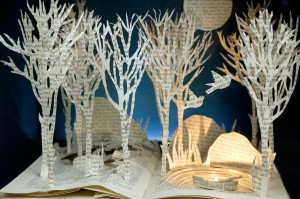 3D Book art with trees and birds