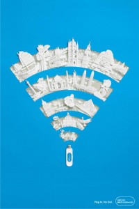Paper art: wifi and memory stick