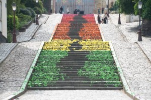 origami street art on stairs mademoiselle maurice