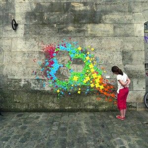 origami street art on wall mademoiselle maurice