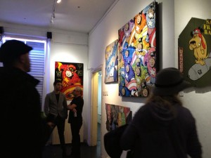 Art gallery with superhero and Marvel paintings