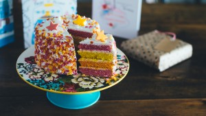 Colourful cake with stars