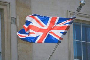 Union Jack flag on a pole