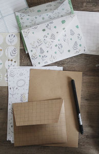 Pretty envelopes for writing letters on a table