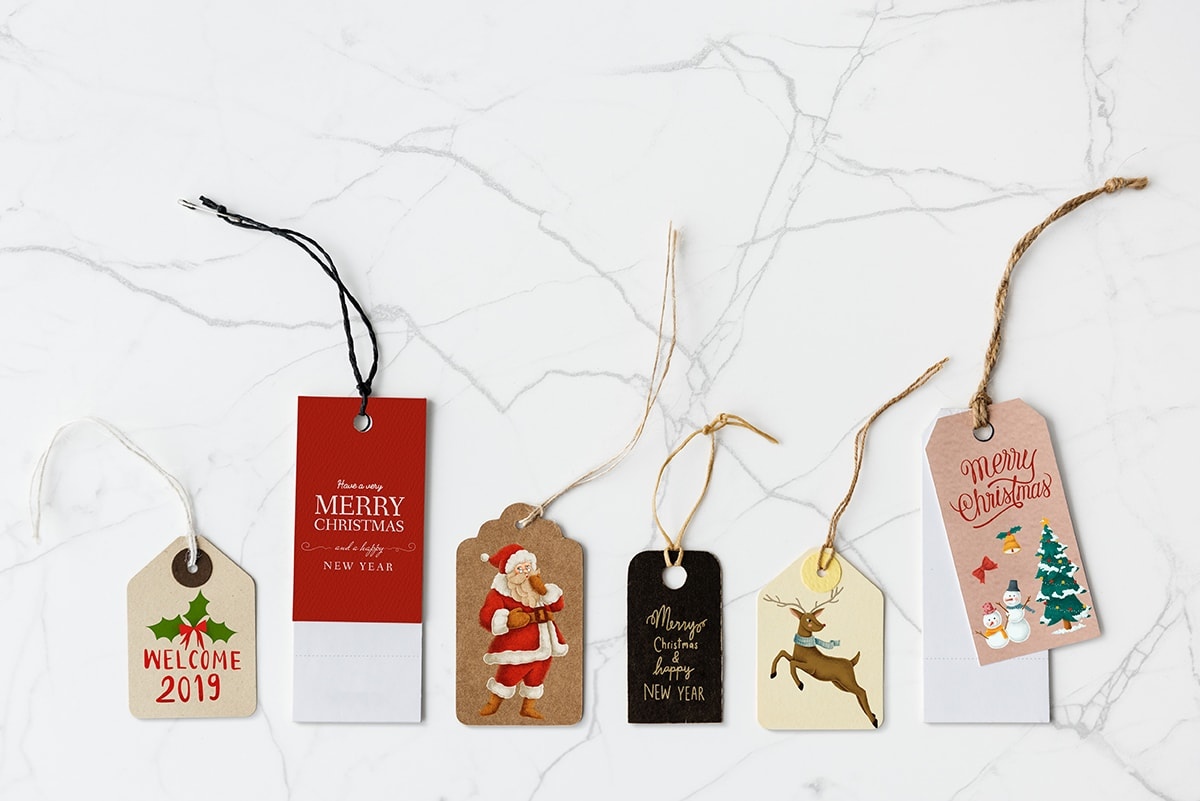 Christmas designed printed tags